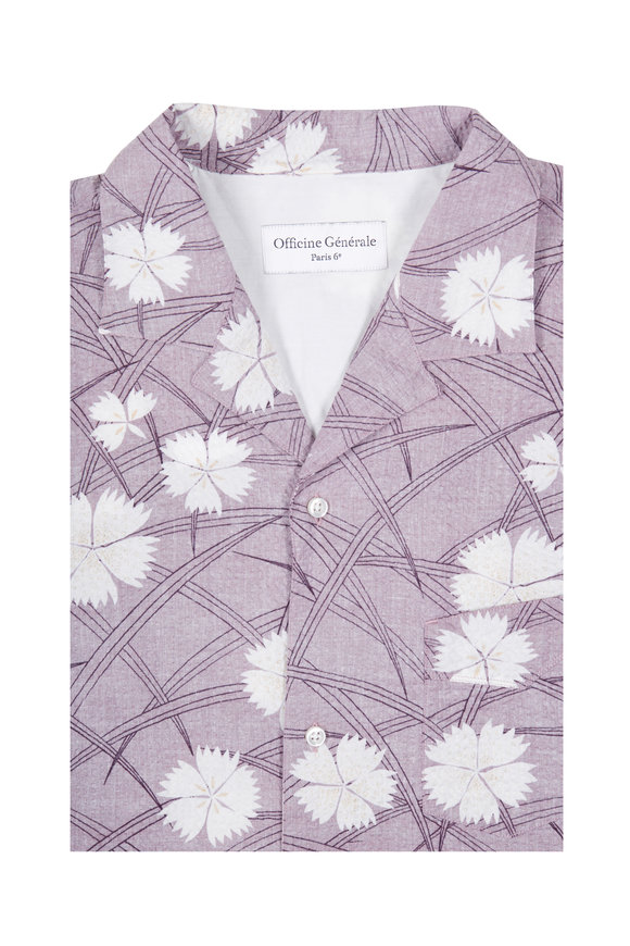 Officine Generale Dario Lilac Seersucker Floral Short Sleeve Shirt