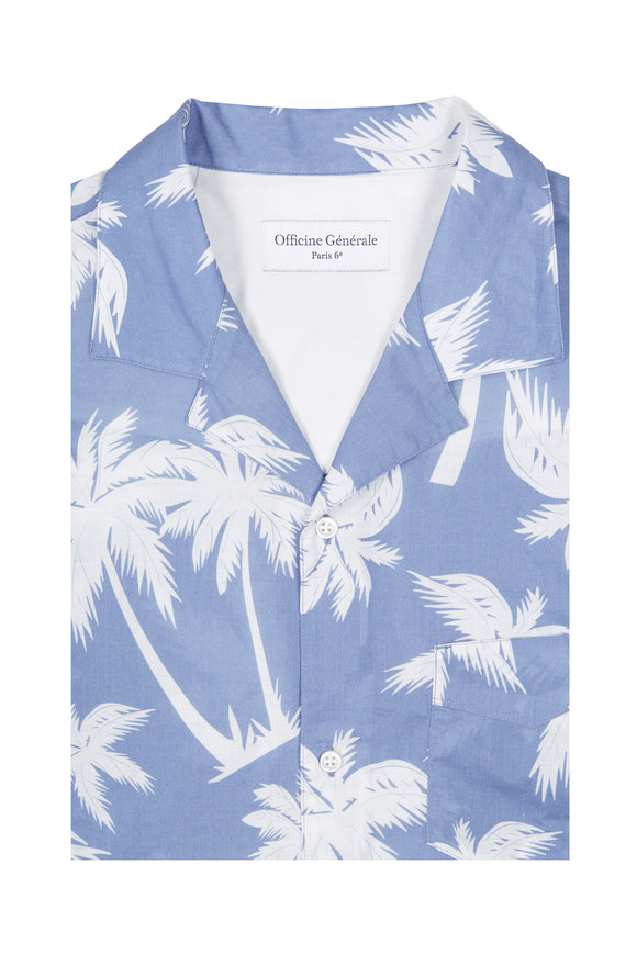 Officine Generale Dario Palm Print Short Sleeve Sport Shirt
