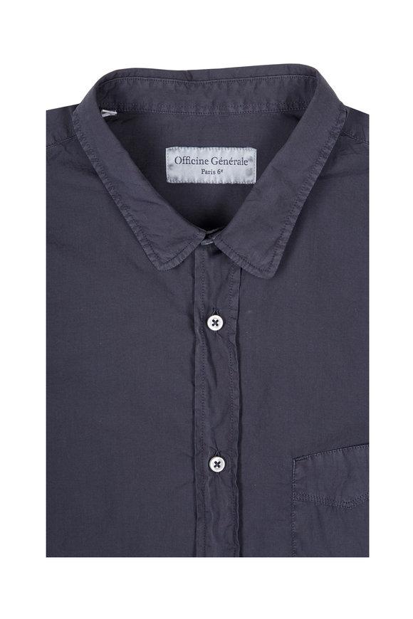 Officine Generale Graphite Cotton Sport Shirt
