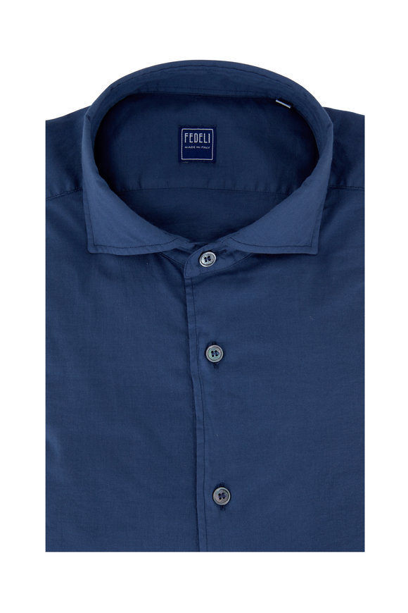 Fedeli Navy Blue Sport Shirt