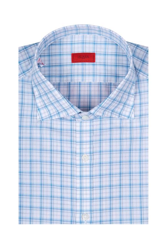 Isaia Blue & Grey Check Sport Shirt