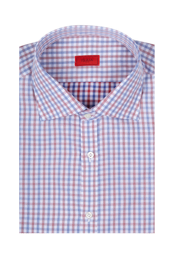 Isaia Red & Blue Tattersall Check Sport Shirt