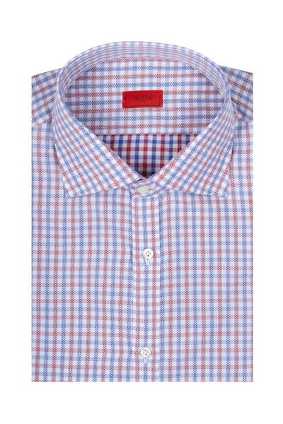 Isaia - Red & Blue Tattersall Check Sport Shirt