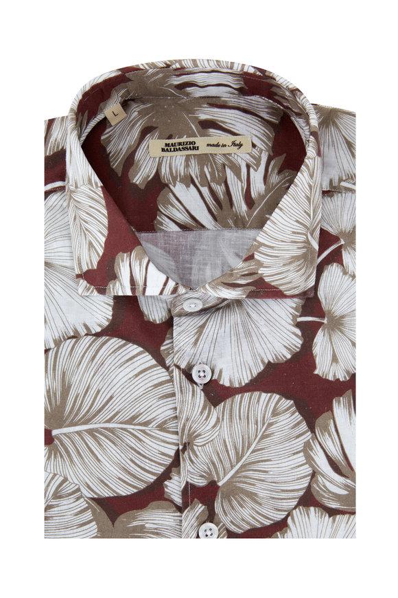 Maurizio Baldassari Red & White Leaf Printed Linen Blend Sport Shirt