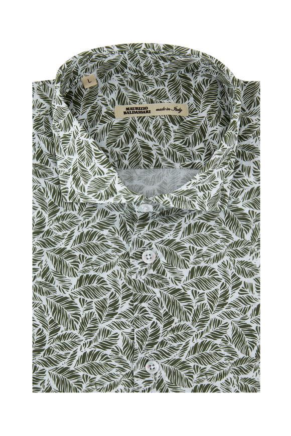 Maurizio Baldassari Green Fern Leaf Printed Sport Shirt
