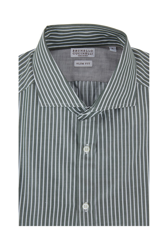 Brunello Cucinelli Forest Green Striped Slim Fit Dress Shirt