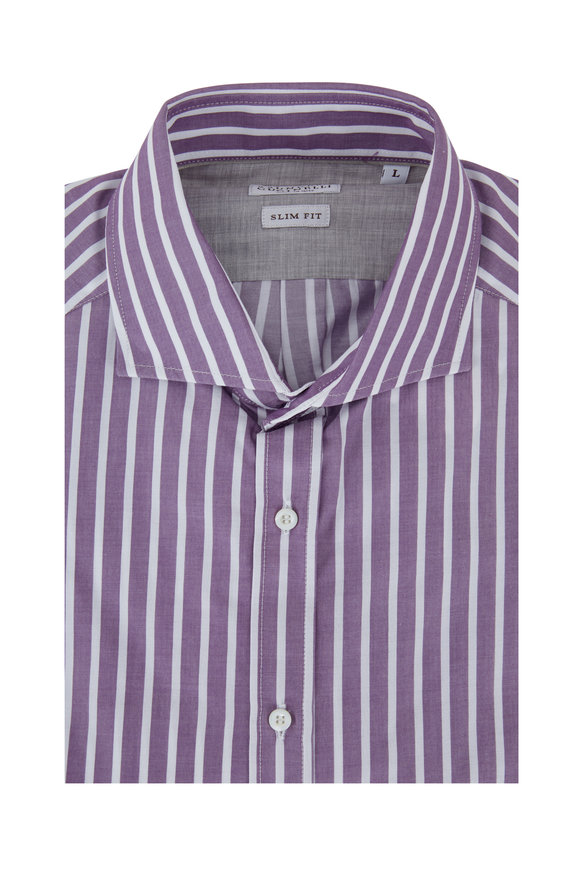 Brunello Cucinelli Purple Wide Striped Slim Fit Dress Shirt