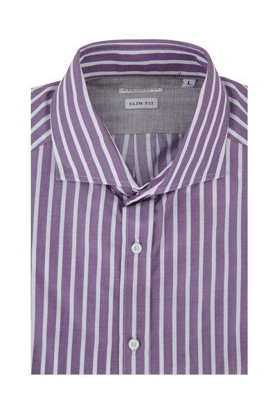 Brunello Cucinelli - Purple Wide Striped Slim Fit Dress Shirt