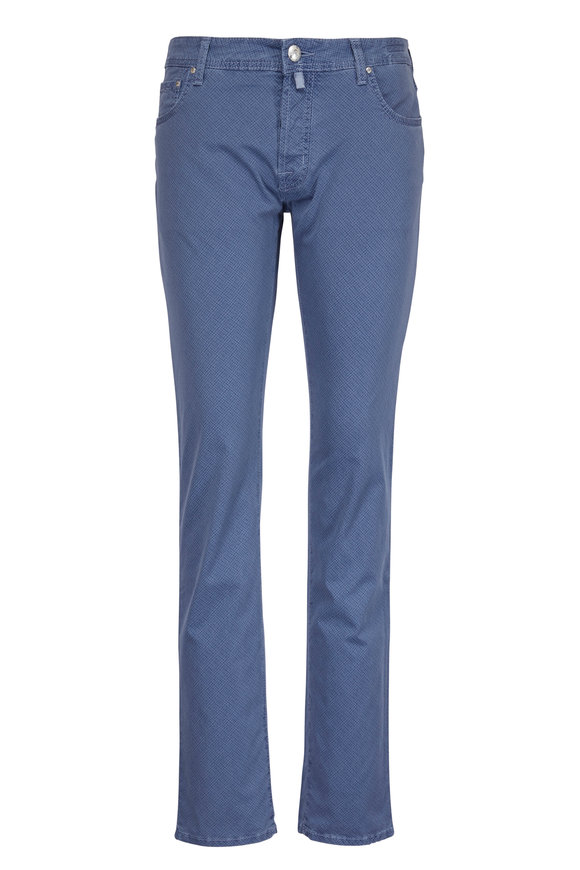 Jacob Cohen  Slate Blue Patterned Five-Pocket Pant