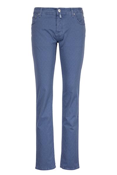 Jacob Cohen - Slate Blue Patterned Five-Pocket Pant
