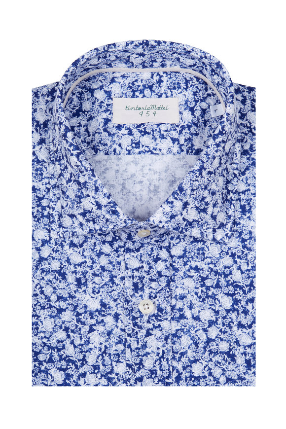 Tintoria Blue & White Linen & Cotton Floral Sport Shirt