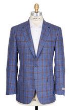 Canali - Blue & Tan Wool Blend Windowpane Sportcoat
