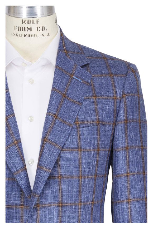 Canali Blue & Tan Wool & Silk Windowpane Sport Coat