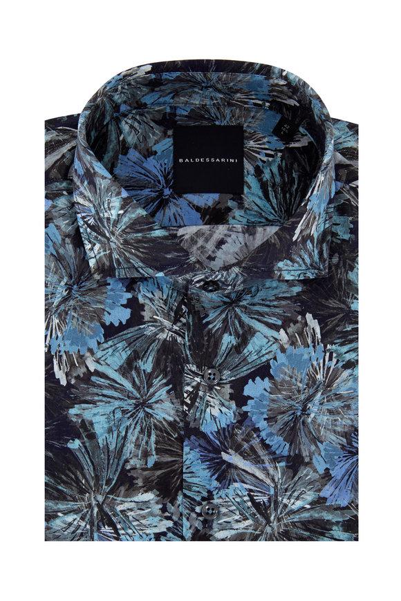 Baldessarini Henry Blue Floral Pattern Sport Shirt