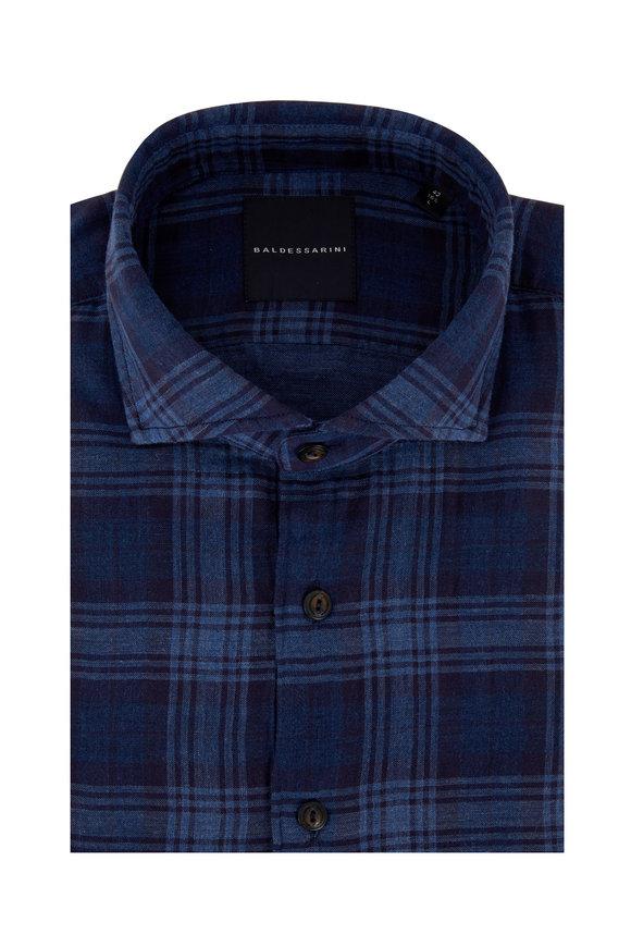 Baldessarini Henry Navy Blue Plaid Sport Shirt