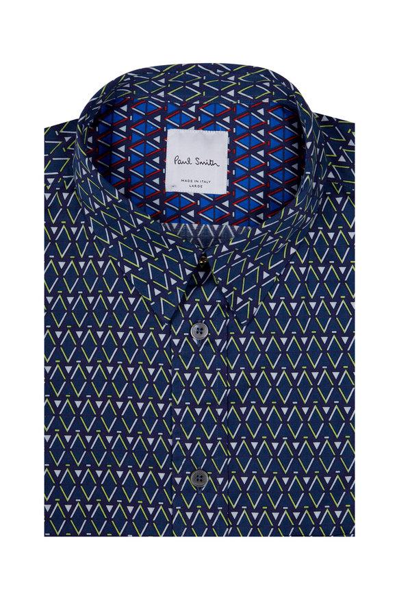 Paul Smith Green Geometric Print Short Sleeve Sport Shirt