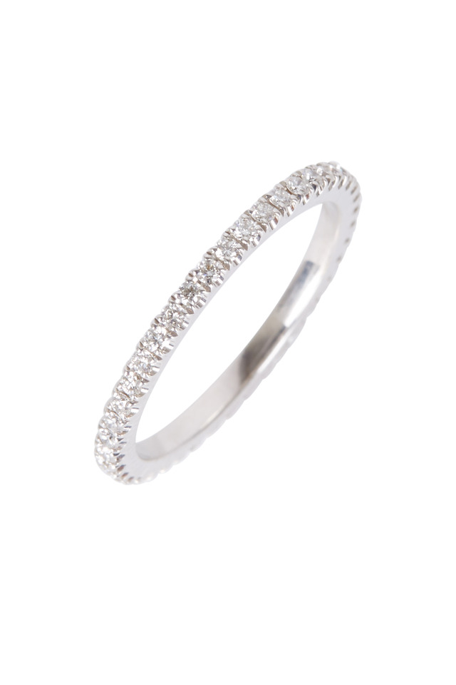 White Gold White Diamond Stack Ring