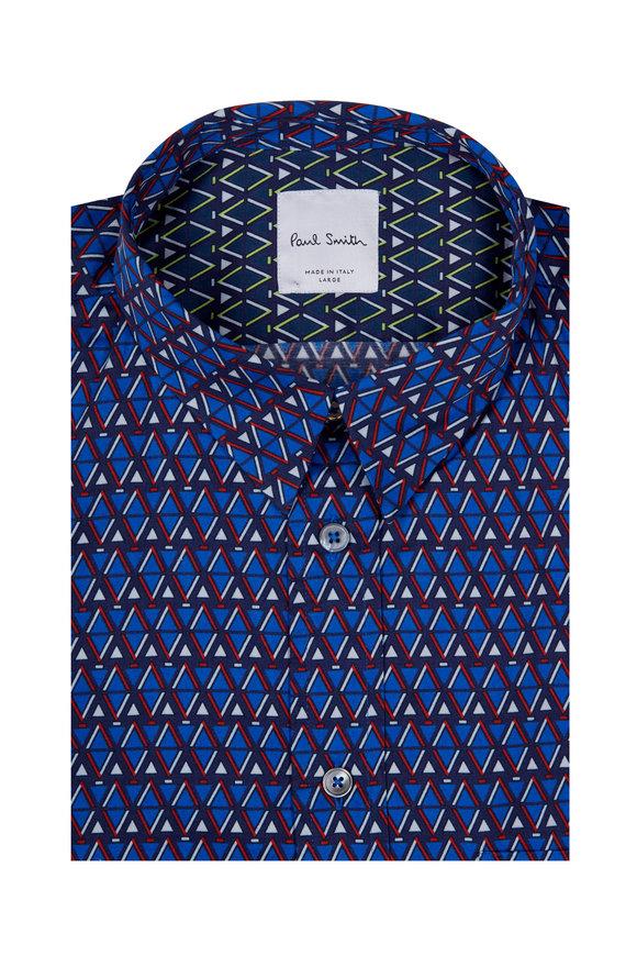 Paul Smith Navy Geometric Print Short Sleeve Sport Shirt