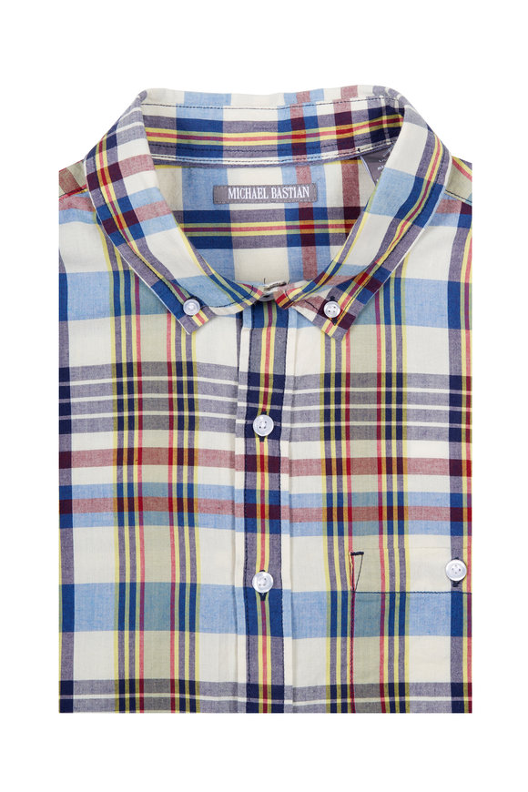 Michael Bastian Multicolor & Bone Madras Short Sleeve Sport Shirt