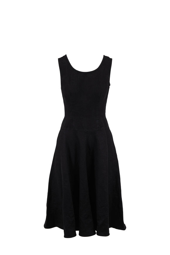 Aspesi Black Linen Scoopneck Day Dress