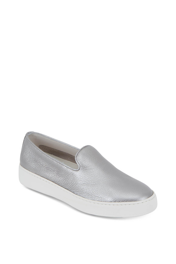 Santoni Silver Grained Leather Slip-On Sneaker