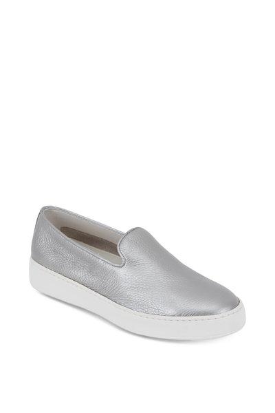 Santoni - Silver Grained Leather Slip-On Sneaker