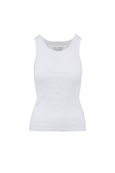 Nili Lotan - Coana White Ribbed Tank Top