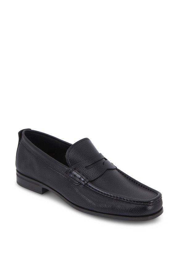 Santoni Holt Black Grained Leather Penny Loafer
