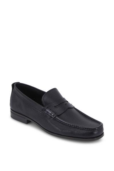 Santoni - Holt Black Grained Leather Penny Loafer