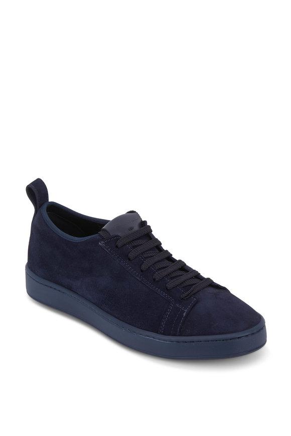 Santoni Inhabit Navy Blue Suede Lace-Up Iconic Sneaker