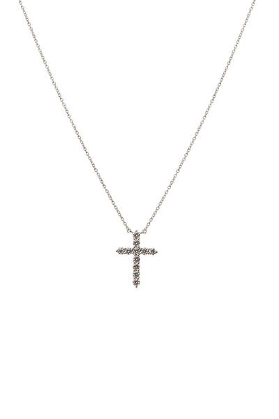 Kwiat - White Gold White Diamond Faith Cross Pendant