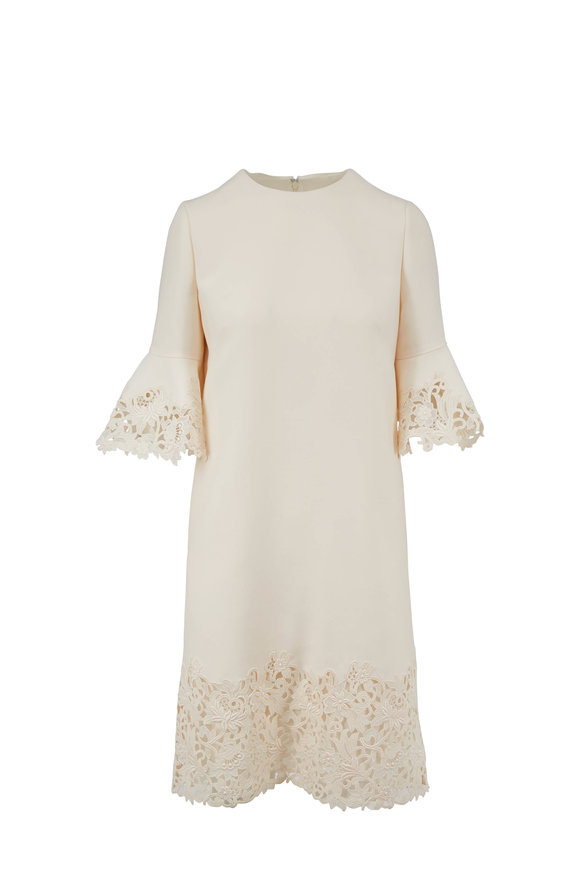 Valentino Ivory Couture Crepe Lace Flutter Sleeve Dress