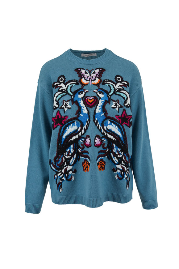 Valentino Teal Peacock Embroidered Cashmere Crewneck Sweater
