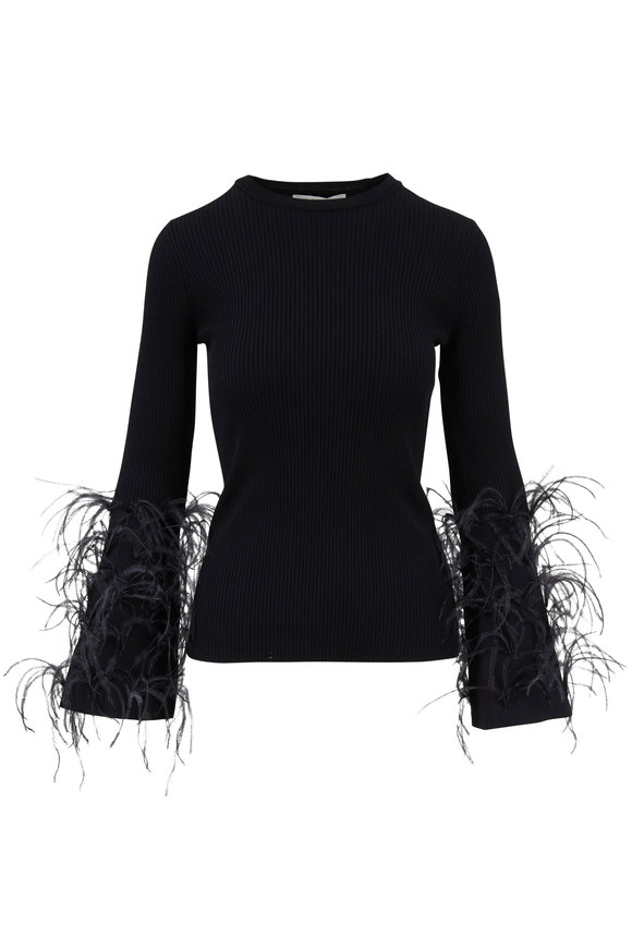 Valentino Black Knit Ribbed Feather Sleeve Top
