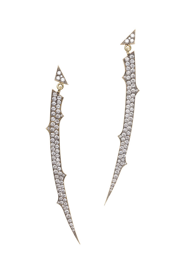 Yellow Gold Long Curved Thorn Diamond Earrings
