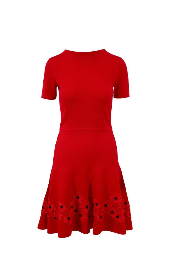 Oscar de la Renta Red Poppy Hem Fit & Flare Knit Dress