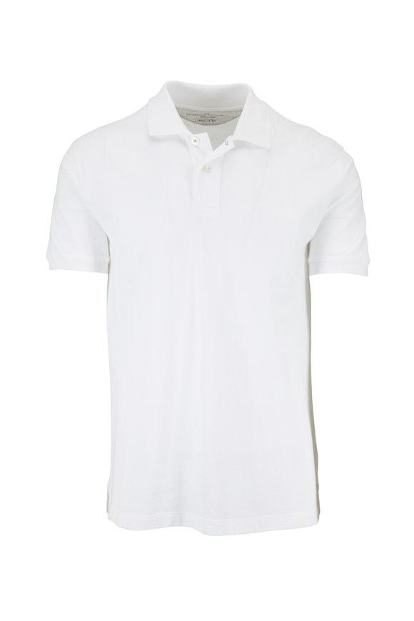 Brunello Cucinelli White Cotton Regular Fit Polo