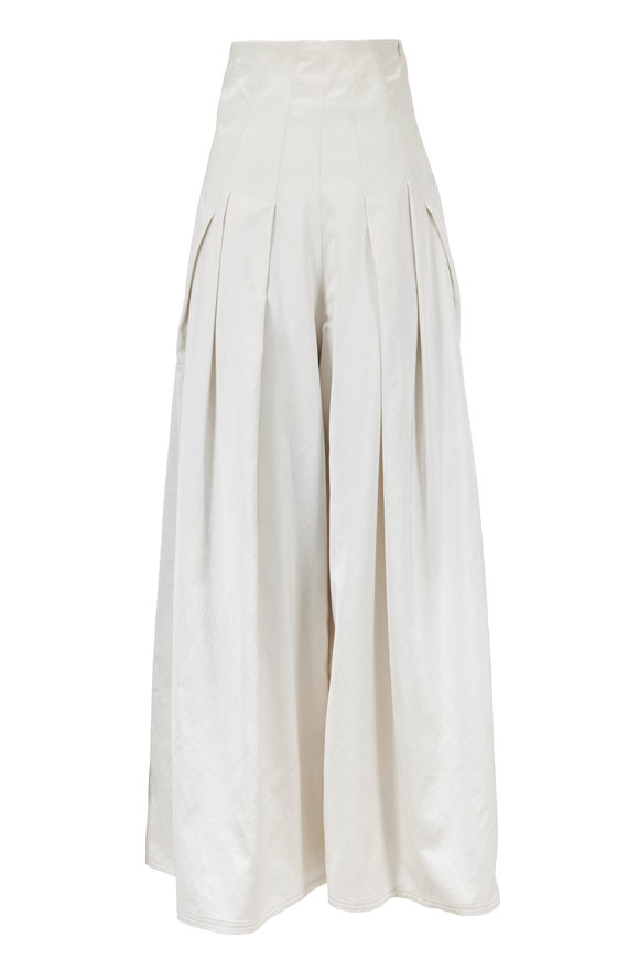 Brunello Cucinelli White Satin Pleated Extreme High-Waist Pant