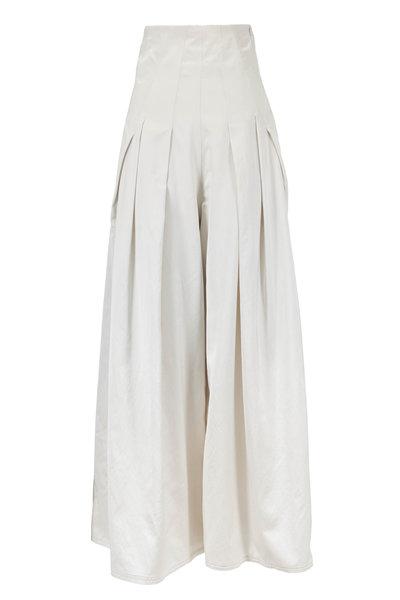 Brunello Cucinelli - White Satin Pleated Extreme High-Waist Pant
