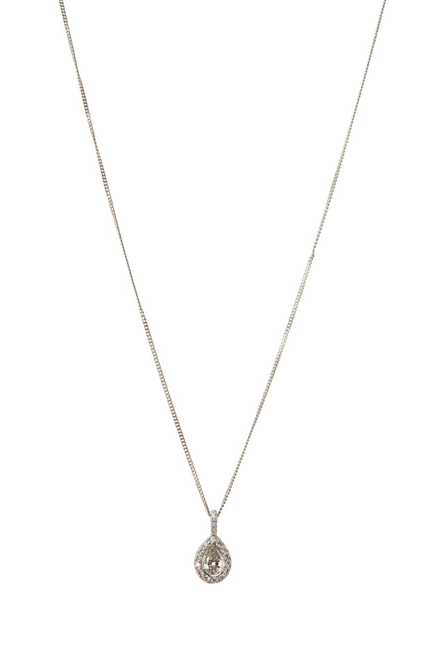 Silhouette Platinum White Diamond Pendant Necklace