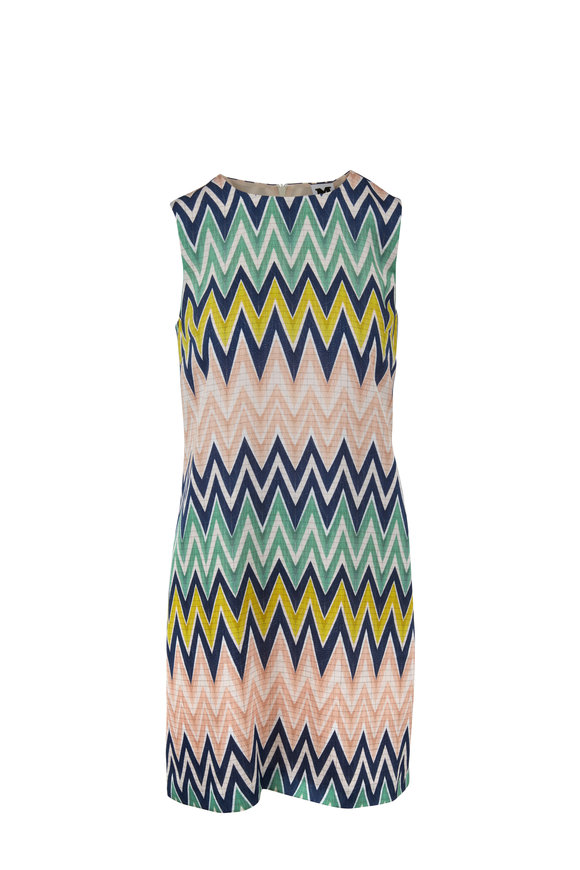 M Missoni Multicolor Zig-Zag Sleeveless Shift Dress