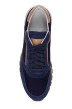 Brunello Cucinelli - Navy & Tan Leather & Suede Low-Top Sneaker