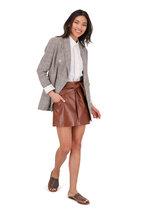 Brunello Cucinelli - Cinnamon Leather Tie Front Mini Skirt