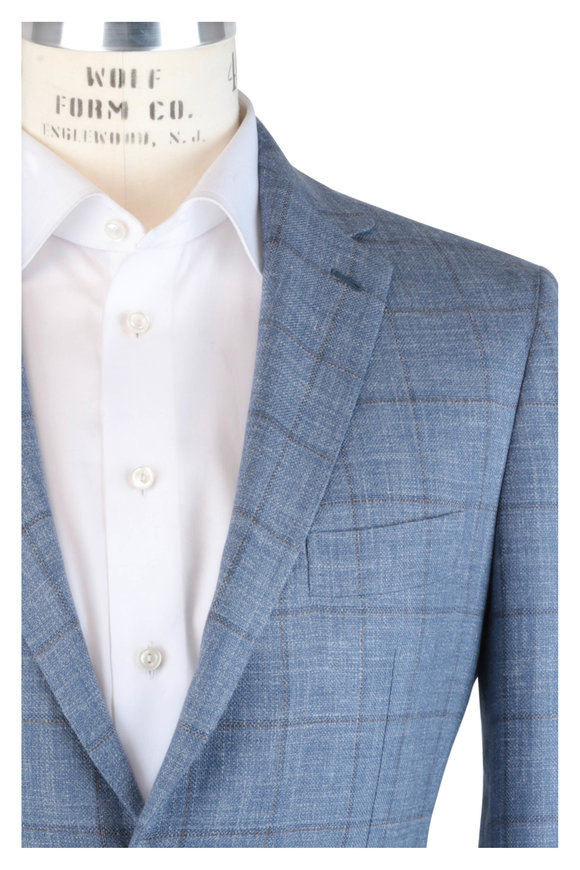 Mauro Blasi Blue Windowpane Wool, Silk & Linen Sportcoat