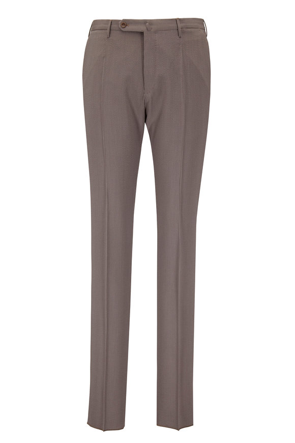 Incotex Matty Taupe Seersucker Silk Modern Fit Pant