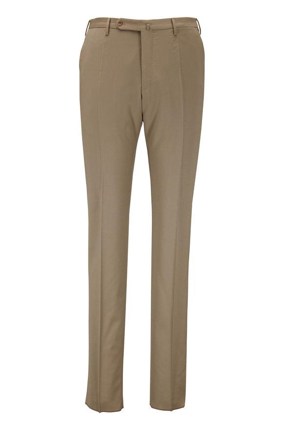 Incotex Matty Solid Khaki Techno Wool Modern Fit Pant