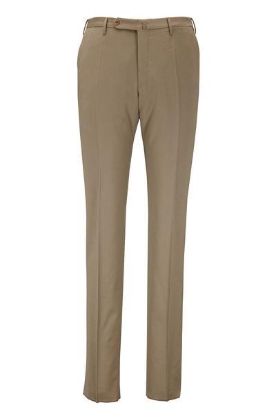 Incotex - Matty Solid Khaki Techno Wool Modern Fit Pant