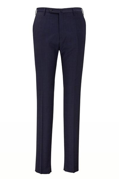 Incotex - Matty Solid Navy Stretch Wool Modern Fit Pant