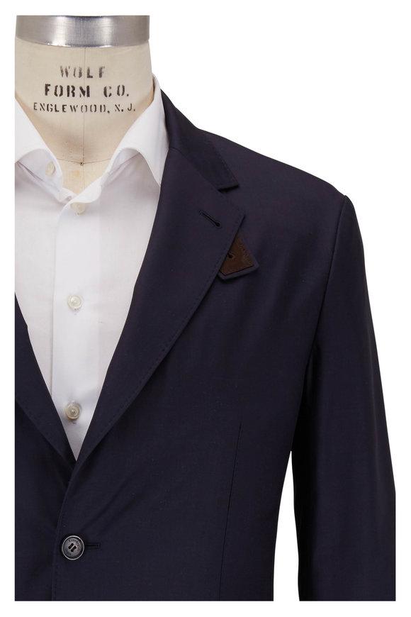 Ermenegildo Zegna Navy Blue Washed Silk Traveler Jacket