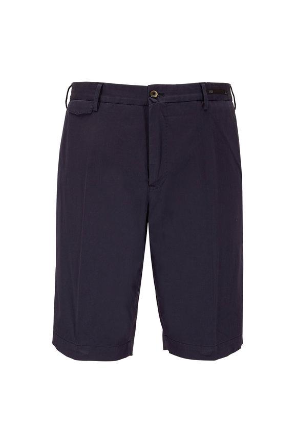 PT Pantaloni Torino Navy Blue Cotton & Silk Chino Shorts
